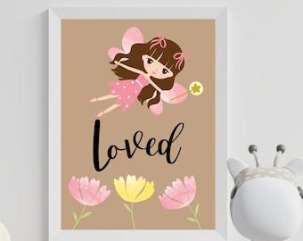 Nursery room wall art decor, Fairy loved home decor for kids room digital print