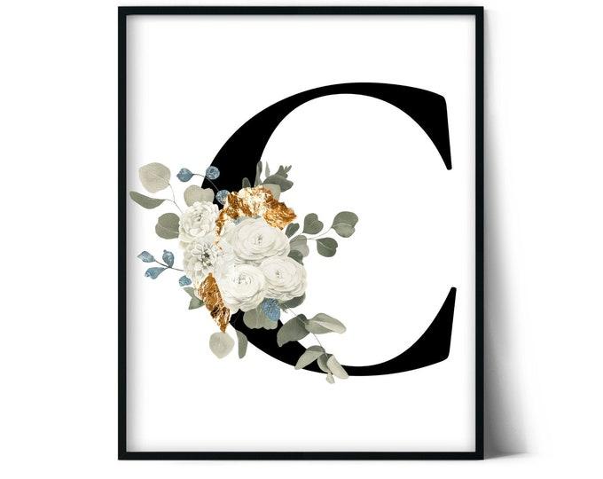 Letter C Wall Art, Initial C Print, Instant Download, Letter C Wall Decor, Printable Wall Art, Monogram Letter, Monogram Digital Print