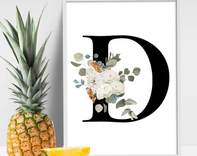 Floral monogram Letter D wall art decor, Monogram flower alphabet D digital print