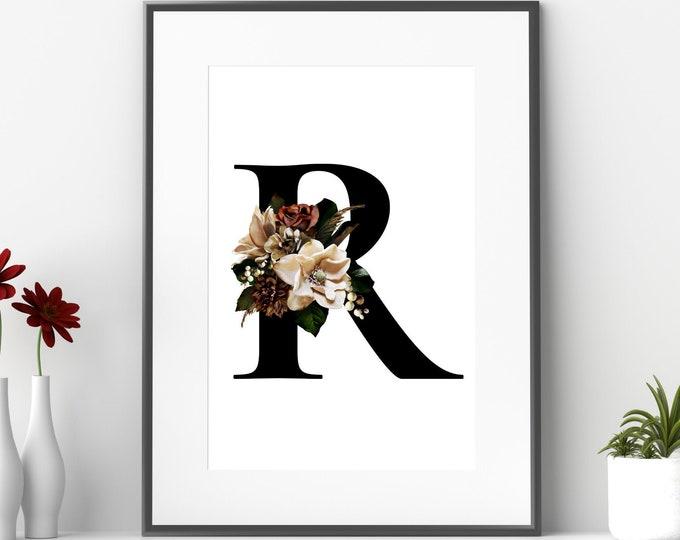 Monogram floral letter R wall art decor, Flower monogram alphabet R digital print