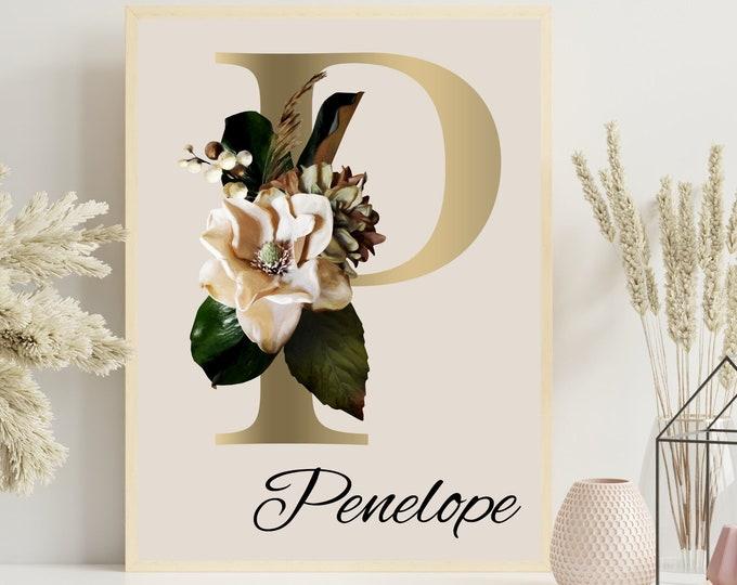 Personalized gifts, Floral monogram letter P wall art decor, Flower monogram alphabet P digital print