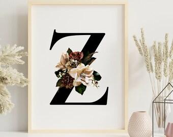 Letter Z floral monogram wall art decor, Monogram flower alphabet Z digital print