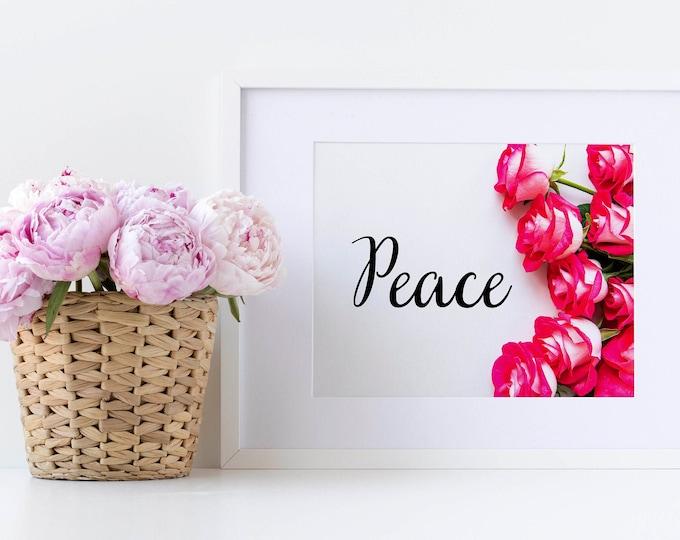 PrintableWallArt, PEACE Roses, WallArt, DigitalPrint, DigitalDownload, HomeDecor, BedroomDecor, WoodWallArt