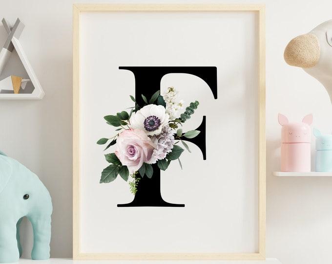Monogram floral letter F wall art decor, Flower alphabet F digital print