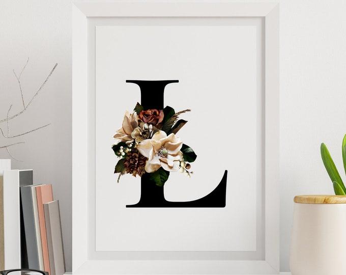 Floral monogram letter L wall art, Monogram flower alphabet L digital print