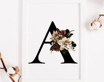 Floral monogram alphabet, Letter A fall decor printable wall art, Monogram letter A instant download