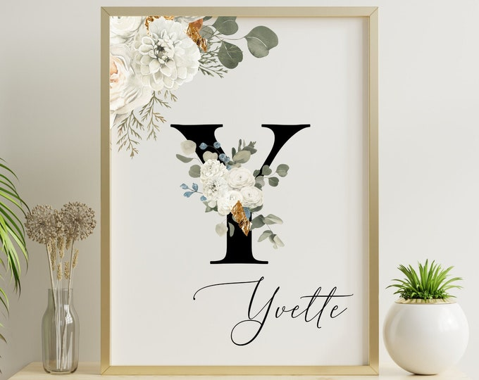 Personalized gifts, Floral monogram letter Y wall art decor, Monogram flower alphabet Y digital print