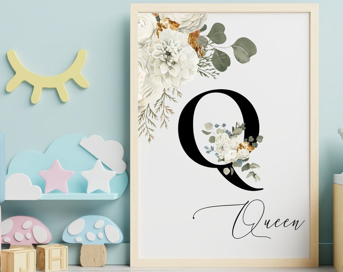 Letter Q Wall Art, Wall Art, Custom Name Floral Wall Decor, Personalized Name, Letter Q Printable Wall Art, Monogram Initial Q,  Home Decor