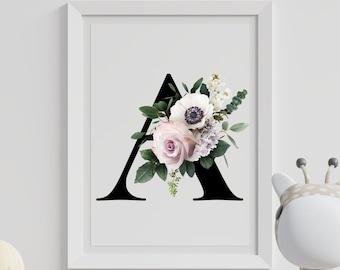 Alphabet A floral monogram wall art, Letter A home decor digital print, Monogram initial A printable