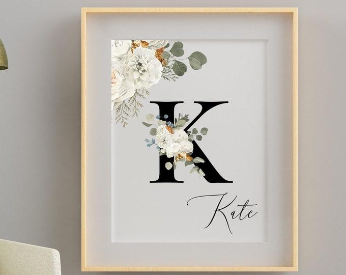 Personalized gifts, Monogram floral letter K wall art decor, Flower monogram alphabet K digital print