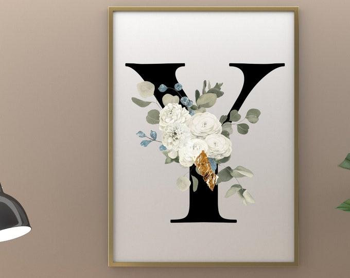 Letter Y Wall Art, Wall Art, Letter Y Wall Decor, Printable Wall Art, Monogram Digital Print, Monogram Home Decor