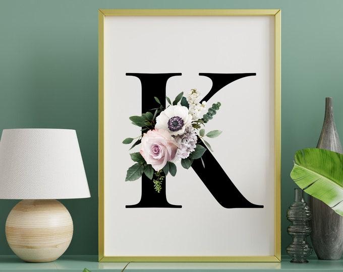 Floral letter K monogram wall art, Monogram flower alphabet K digital print