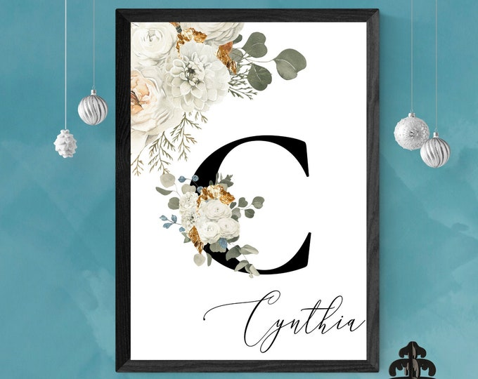 Letter C Wall Art, Wall Art, Personalized Name Letter Wall Decor, Printable Wall Digital Print, Monogram Initial, Home Decor