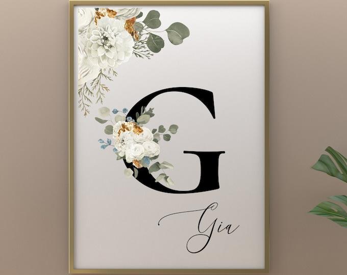 Custom Letter G Printable Wall Art, Custom Name Floral Wall Decor, Personalized Name Letter Digital Print, Monogram Initial Home Decor