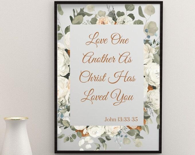 Bible Verse Printable Wall Art, John 13:33-35 Love One Another, Bible Verse Wall Decor, Printable Bible Verse, Bible Verse Digital Print