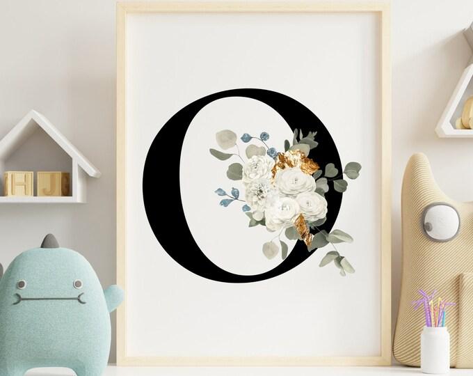 Letter O Wall Art, Wall Art, Letter O Wall Decor, Printable Wall Art, Monogram Letter, Monogram Digital Print, Home Decor