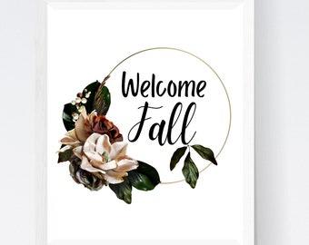 Welcome Fall decor printable wall art, Fall welcome sign home decor, Fall wreath wall art print, Instant download