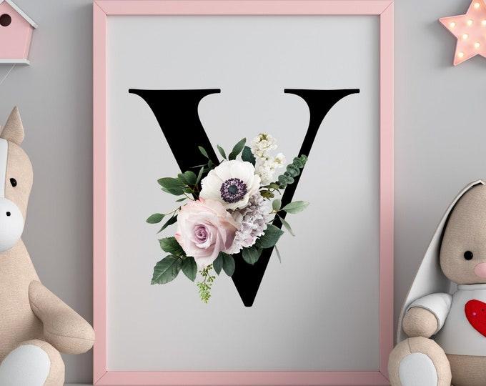 Monogram floral letter V wall art decor, Flower monogram alphabet V digital print