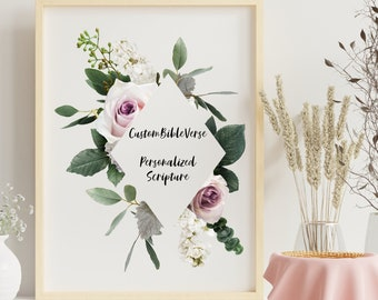 Personalized gifts, Bible verse floral triangle wall art decor, Custom Bible scripture flower digital print