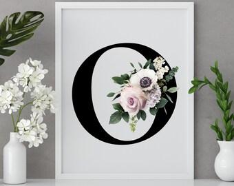 Floral letter O monogram wall art decor, Monogram flower alphabet O digital print
