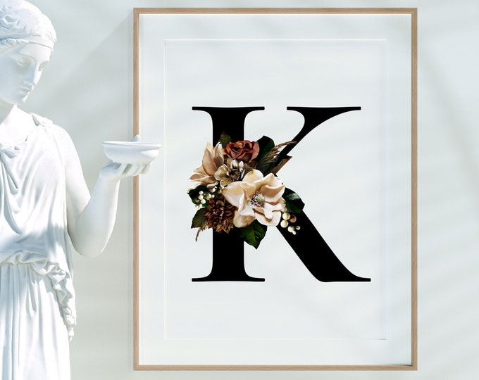 Monogram letter K wall art decor, Floral alphabet K monogram digital print