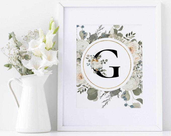 PrintableWallArt, Alphabet G, WallArt, DigitalPrintable, DigitalDownload, WallArt, HomeDecor, BedroomDecor, WallDecor