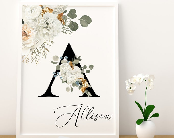 Personalized gifts, Floral monogram A wall art decor, Flower letter A floral digital print