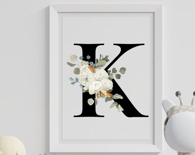 Letter K Wall Art, Initial K Wall Art, Instant Download, Letter K Wall Decor, Printable Wall Art, Flower Letter Print, Monogram Home Decor