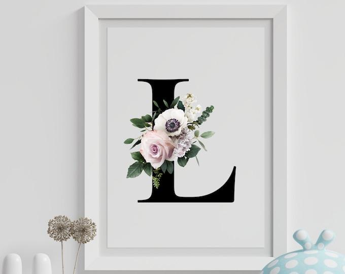 Letter L Wall Art, Wall Art, Letter L Wall Decor, Printable Wall Art, Flower Art, Wall Art Prints, Monogram Letter Wall Art Decor