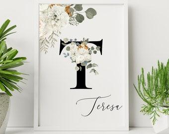 Personalized gifts, Floral monogram letter T wall art decor, Monogram flower alphabet T digital print