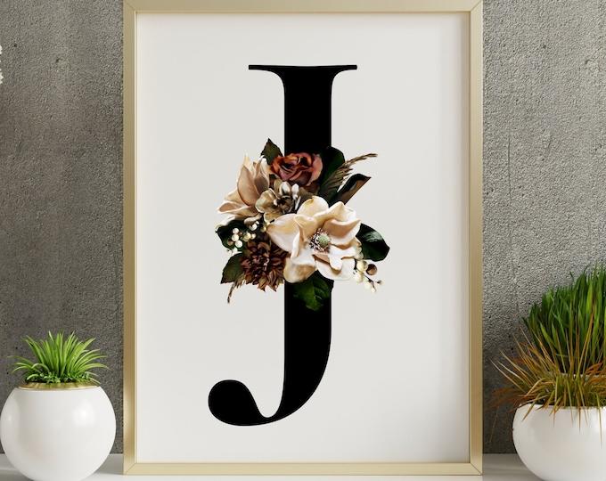 Monogram letter J floral wall art decor, Flower Alphabet J monogram digital print