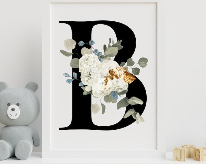 Floral letter B monogram wall art decor, Monogram floral alphabet B digital print