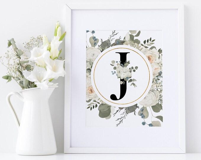 PrintableWallArt, Floral Alphabet J, DigitalDownload, DigitalPrintable, WallArt, HomeDecor, BedroomDecor, WallDecor,