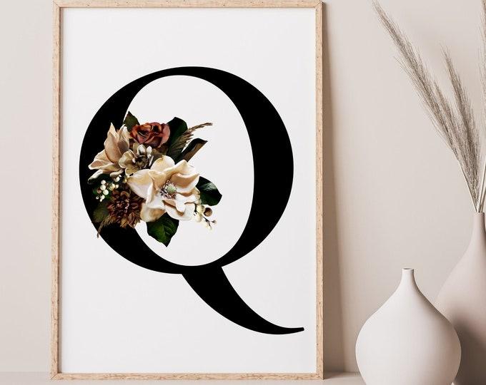 Monogram floral letter Q wall art decor, Flower monogram alphabet Q digital print