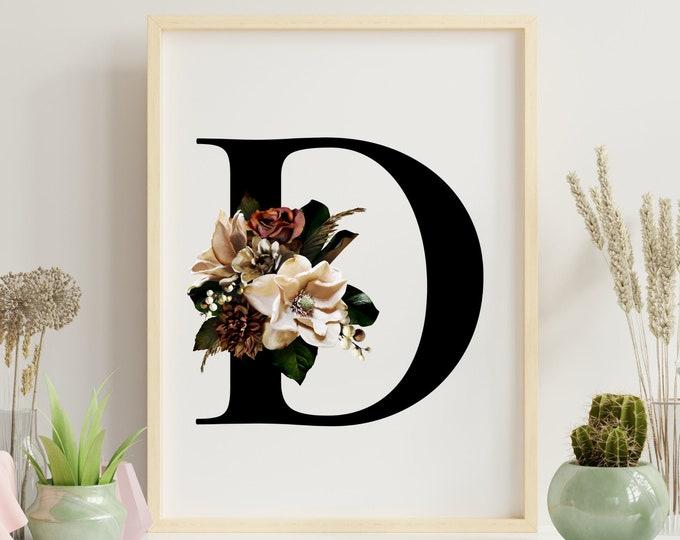 Monogram floral letter D wall art decor, Flower alphabet D digital print
