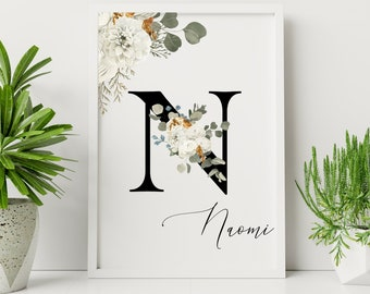 Personalized gifts, Floral monogram alphabet N wall art decor, Monogram flower letter N digital print