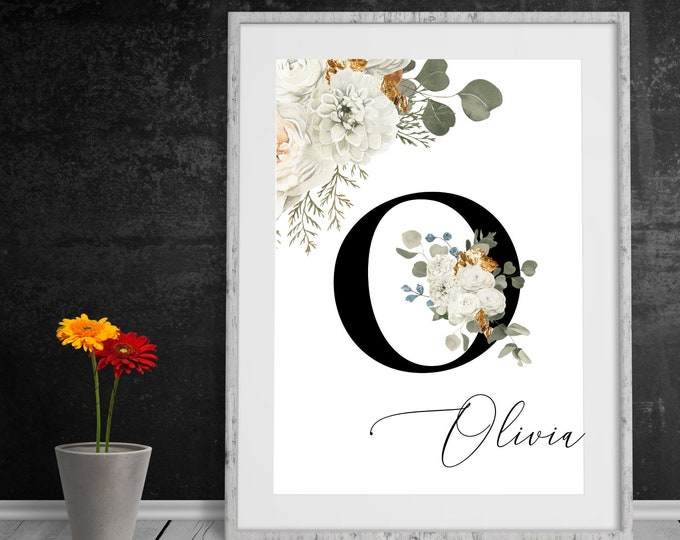 Letter O Printable Wall Art, Wall Art, Custom Name Floral Wall Decor, Personalized Name Letter Digital Print, Monogram Initial, Home Decor