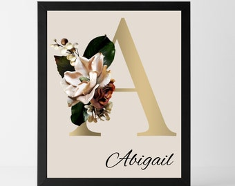 Personalized name monogram letter A wall art decor, Floral monogram letter A home decor
