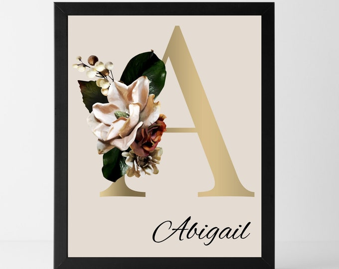 Personalized gifts, Monogram letter A wall art decor, Floral monogram alphabet A digital print
