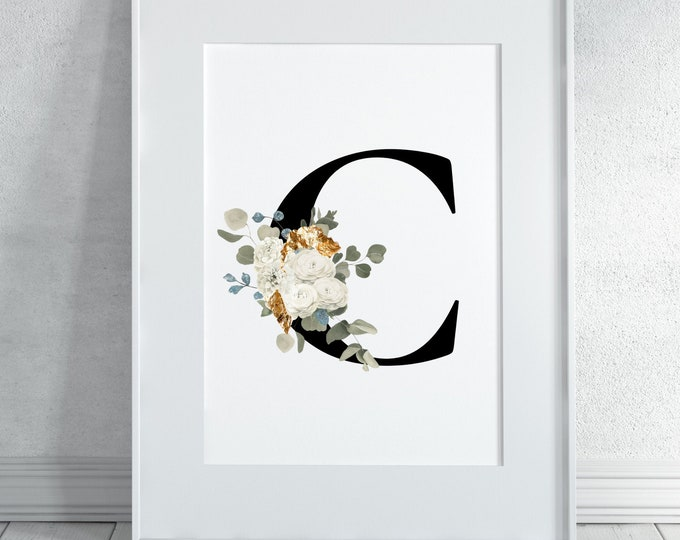 Letter C Wall Art, Initial C Wall Art, Letter C Wall Decor, Flower Letter Print, Monogram Home Decor, Digital Print, Printable Wall Art,