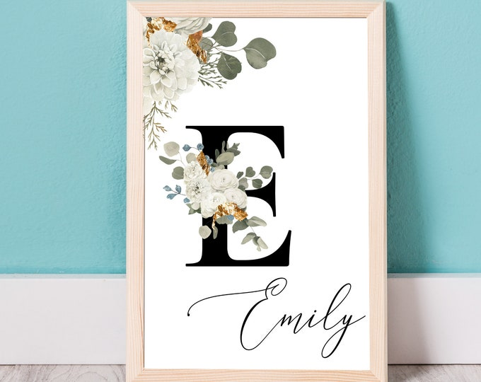 Personalized Name Monogram Letter E Digital Print, Custom Name Floral Wall Art, Personalized Name Print, Monogram Initial Wall Art