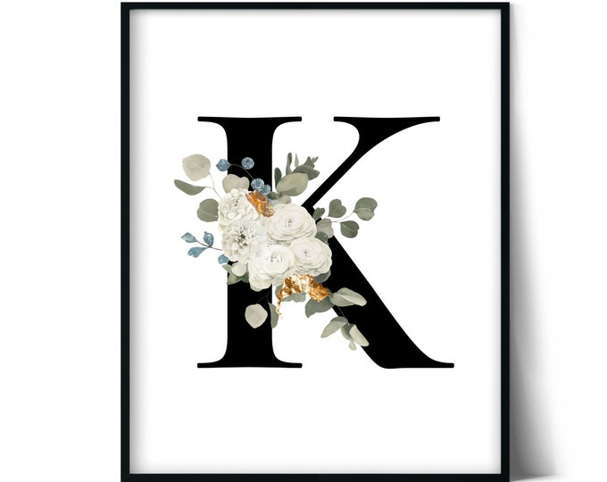 Letter K Wall Art, Initial K Print, Instant Download, Letter K Wall Decor, Printable Wall Art, Monogram Letter, Monogram Digital Print
