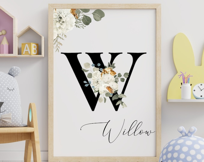Letter W Wall Art, Wall Art, Personalized Name Letter Wall Decor, Printable Wall Art, Digital Print, Monogram Initial W, Home Decor