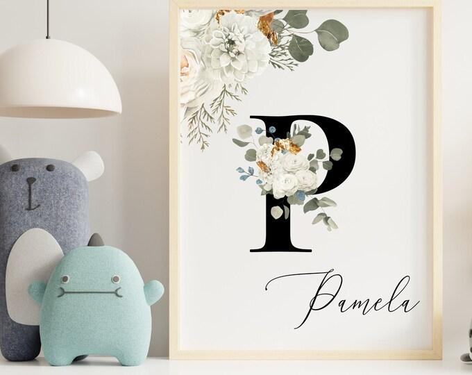 Letter P Wall Art, Wall Art, Personalized Name, Letter P Wall Decor, Printable Wall Art, Flower Letter Digital Print, Monogram Home Decor