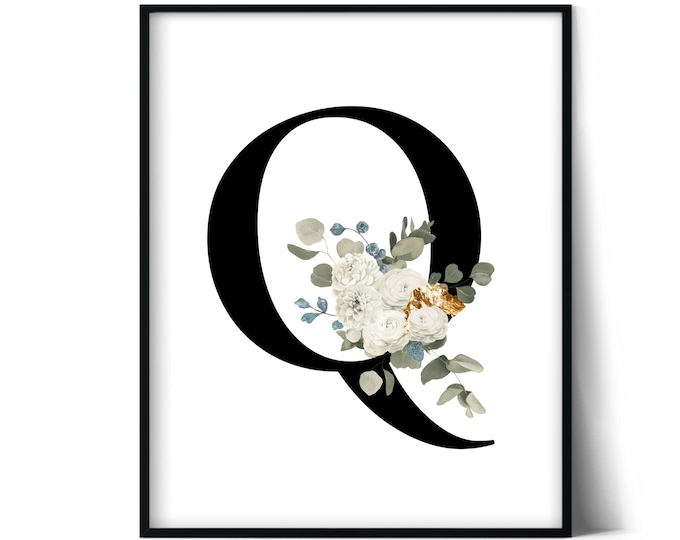 Letter Q Wall Art, Initial Q Print, Instant Download, Letter Q Wall Decor, Printable Wall Art, Monogram Letter, Monogram Digital Print