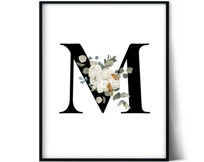 Letter M Wall Art, Initial M Print, Instant Download, Letter M Wall Decor, Printable Wall Art, Monogram Letter, Monogram Digital Print