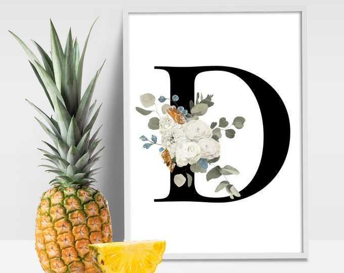 Letter D Wall Art, Initial D Print, Flower Letter Print, Letter D Wall Decor, Monogram Wall Art, Instant Download, Digital Print,