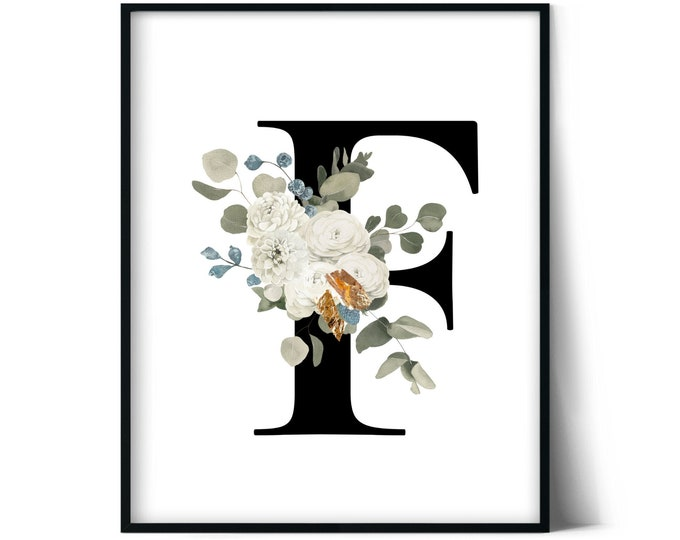 Letter F Wall Art, Initial F Print, Instant Download, Letter F Wall Decor, Printable Wall Art, Monogram Letter, Monogram Digital Print