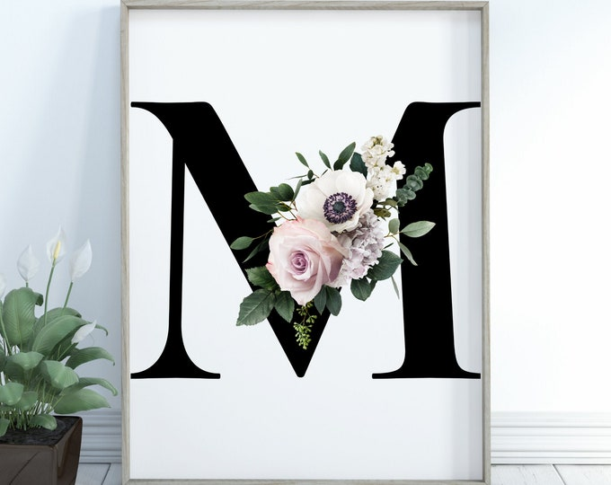Monogram floral letter M wall art decor, Flower alphabet M digital print