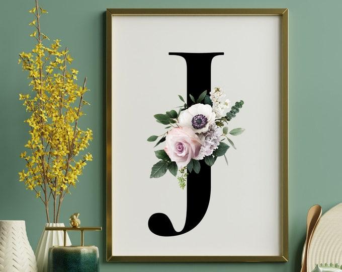 Monogram letter J wall art decor, Floral monogram alphabet J digital print
